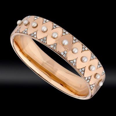 Bracelet Perles Fines Et Roses De Diamants Vers 1860