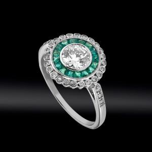 Art Deco Style Diamonds And Calibrated Emeralds Ring