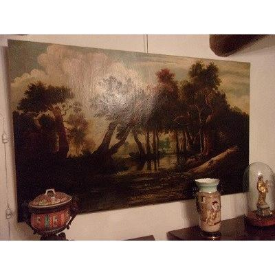 Large Oil On Canvas Painting Barbizon School From The 19th Century