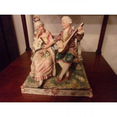 Small Group In Polychrome Earthenware Choisy The King From Late 19th Century