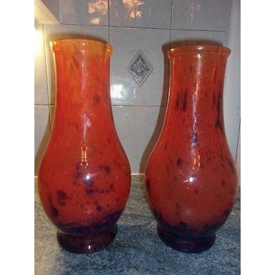 Two Red Glass Vases - Orange Speckled With Blue From The Early Twentieth Century