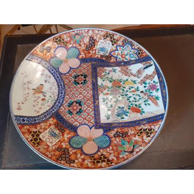 Very Large Flat In Imari Earthenware From The 19th Century 68 Cms