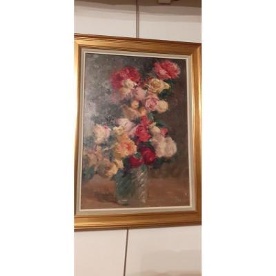Tableau Bouquet De Fleurs De Jules Flour Peintre Avignonais 1864- 1921