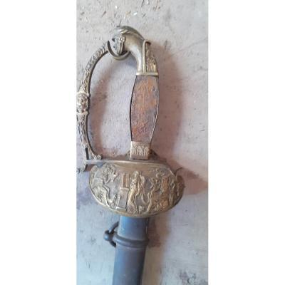 Épée d'Officier Avec Garde En Bronze,  d'époque Début 19ème Siècle