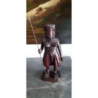 Statuette En Bois Sculpté d'Extrême Orient d'époque 1880