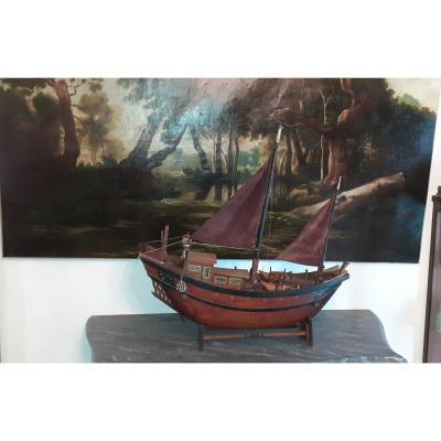 """Belle maquette en bois ancienne """"jonque Chinoise"""""""