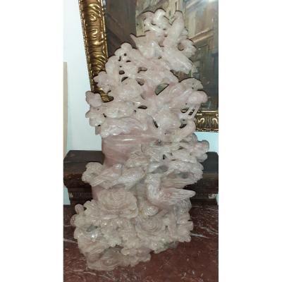 Grand Et Beau Pot Couvert En Quartz Rose 58 Cms De Haut , Réparé