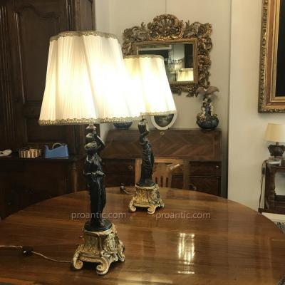 Paire De Lampes En Bronze 19ème