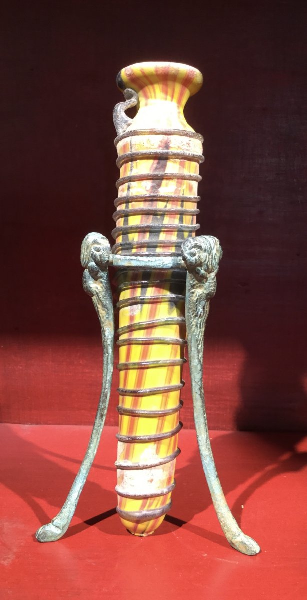 Grand Tour, (egypte, Grèce Antique, Syrie, Rome) Vase En Verre De Murano Soufflé à Décor Phénic