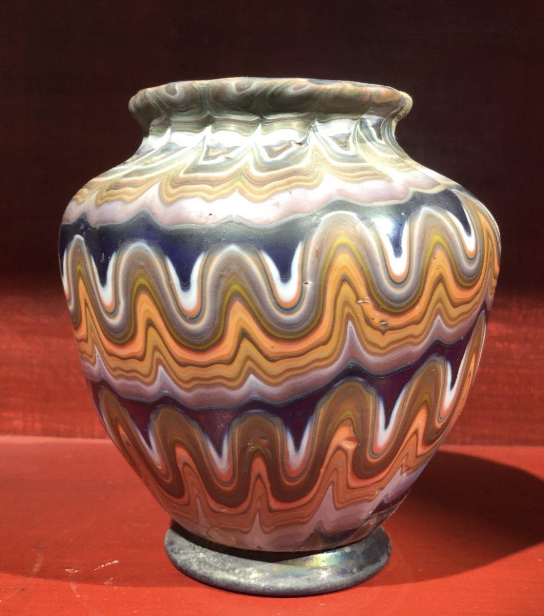 Grand Tour, Petit Vase Amphore En Verre Soufflé Et Coloré à Décor Phénicien De Murano