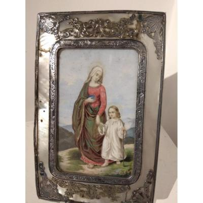 Miniature On Ivory With Frame In Nacre And Silver Nineteenth Century.