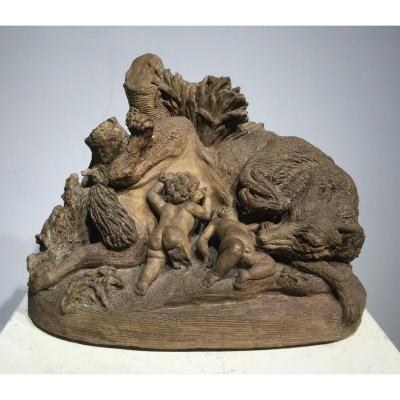 Terre cuite, la louve allaitant les jumeaux Romulus et Remus