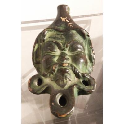 Lampe à huile en terre cuite ancienne du Grand Tour