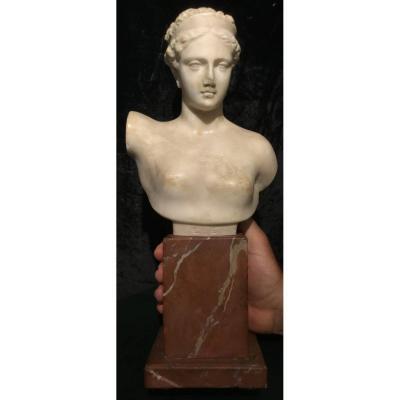Ebe, Buste Statuaire En Marbre Blanc