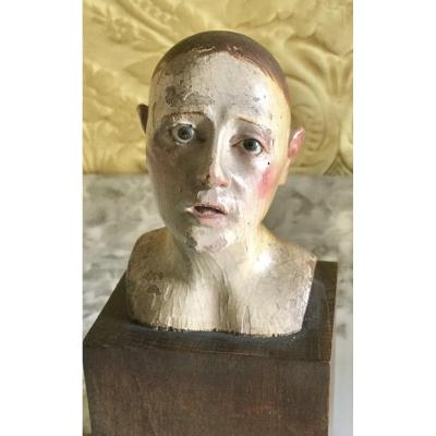 Lacquered Wood Head, First Half Of The 18th Century