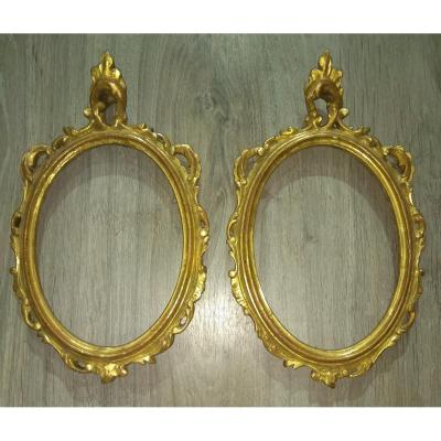 Pair Of Oval Shaped Frames In Golden Wood