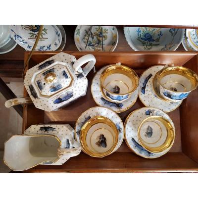 Service A The Porcelaine De Paris Epoque Charles X Vues De Nuit & Etoiles