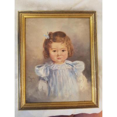 Portrait De Petite Fille 1894 Fin Du XIXème Siècle  32 x 26 cm