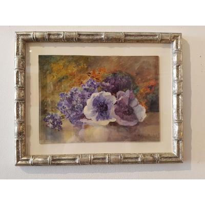 Aquarelle Le Bouquet Aux Anémones Bleues Signé Piton Gintel