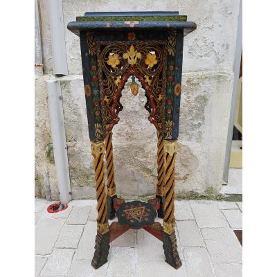 XIXe Algerie Sellette Mauresque Bois Sculpte Peint Dore