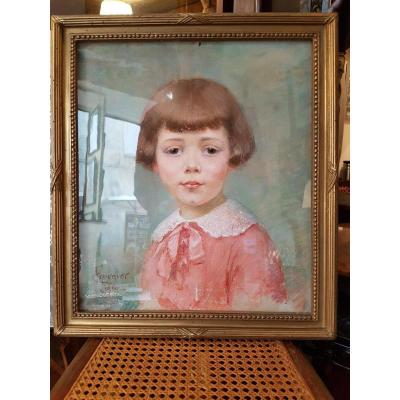 Portrait Au Pastel De Petite Fille Signe Fournier 1919 50 X 44 Cm