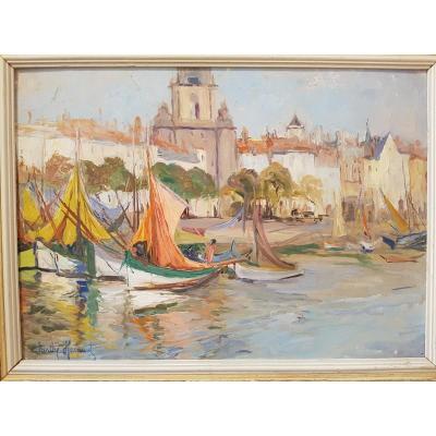 Vue Du Port De La Rochelle Marine Par Berthe Hainaut