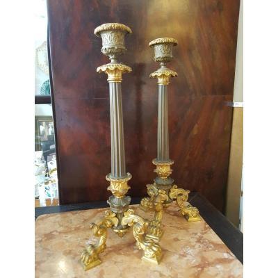 Paire De Hauts Bougeoirs Neoclassiques Bronze Patine & Dore Napoleon III