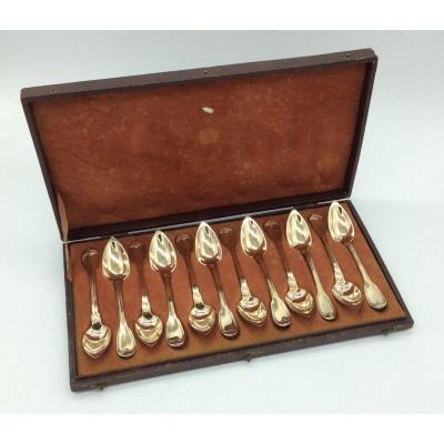 12 Small Spoons In Vermeil, Old Man 1819-1838.