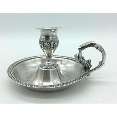 Hand Candle Holder In Silver, Old 1819-1838.