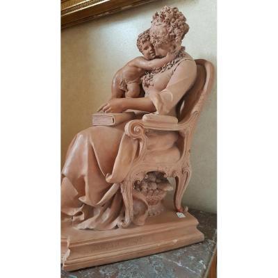 Terre Cuite De Lucas Madrassi ( 1848- 1919)  sculpteur français éleve de jules Cavelier