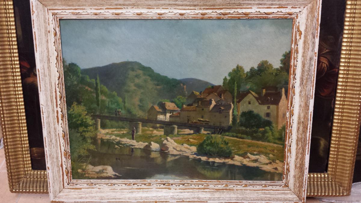 Paysage Vue Du Saint Leger De Peyre,signee En Bas A' Gauche Adrien Ouvrier Et Date' 1920