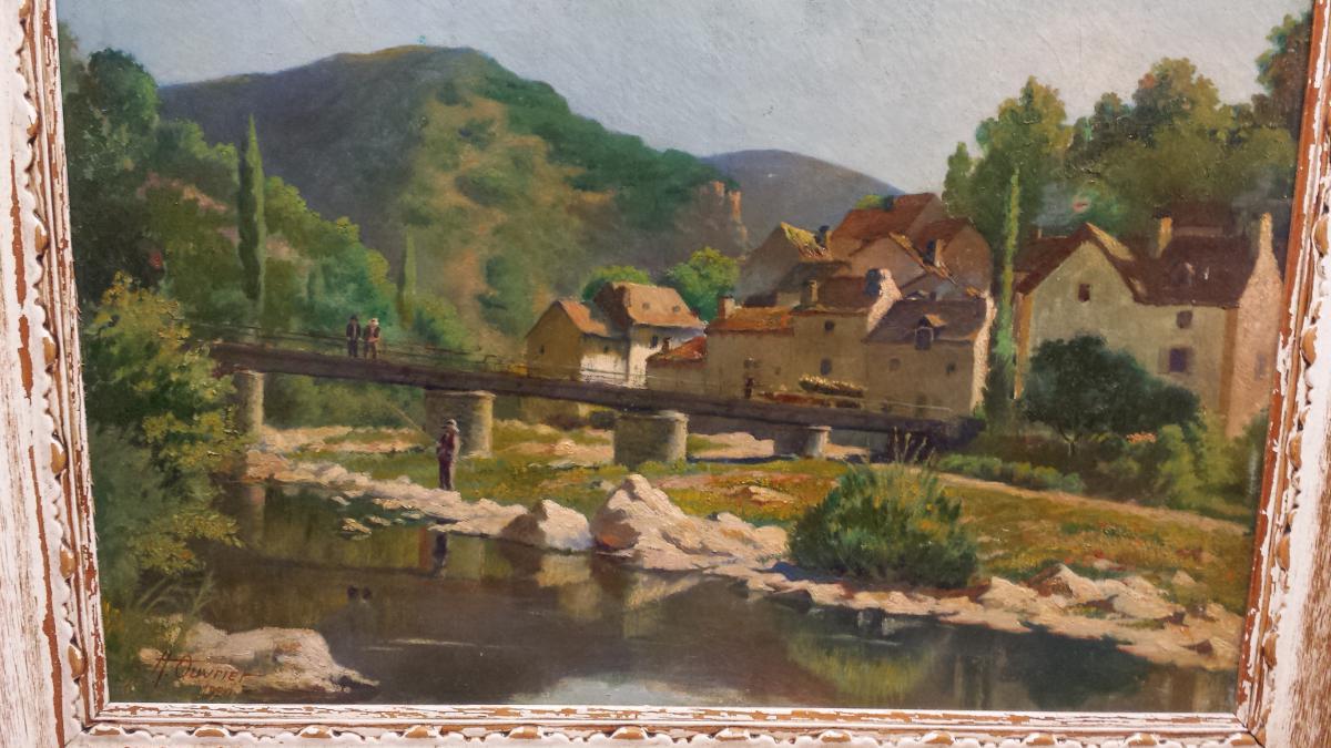 Paysage Vue Du Saint Leger De Peyre,signee En Bas A' Gauche Adrien Ouvrier Et Date' 1920-photo-3