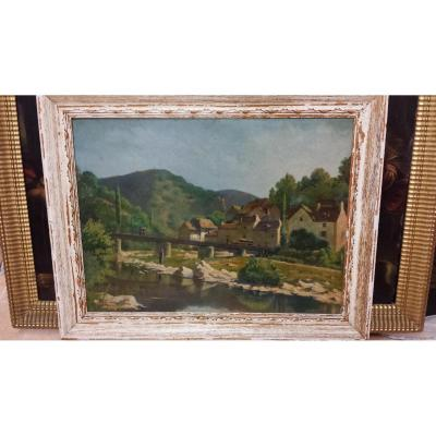 Landscape View Of Saint Leger De Peyre, Signed En Bas A 'left Adrien Worker And Date' In 1920