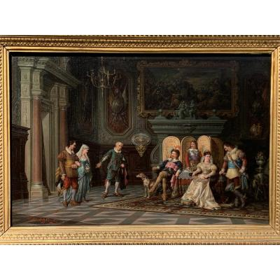 Castle Interior With Royal Characters. Troubadour XIX Scene, Hsp