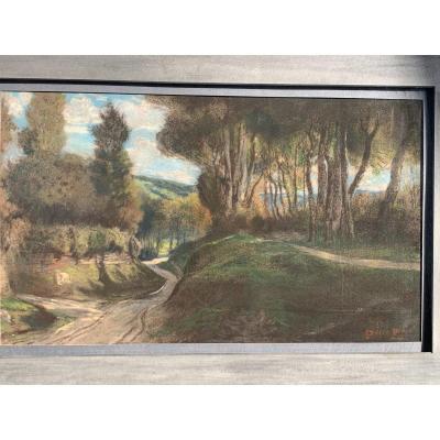 Prins Pierre Ernest(1838-1913) Paysage Au Chemin creux,pastel.