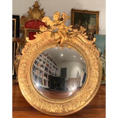Miroir Sorcier Convexe, En Bois Doré. 105x90. Fin XIX Siècle.