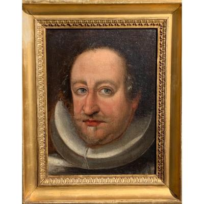 Portrait Of A Noble With Ruff. Hst 25x33.5. XVIth Century