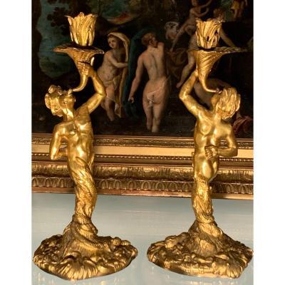 Pair Of Rocaille Torches, Gilt Bronze. H 32.5. XVIII Century