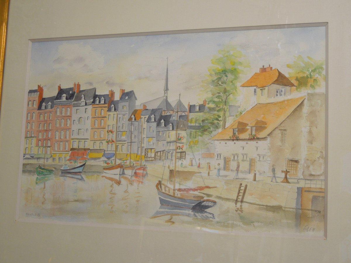 le Port et la Capitainerie De Honfleur Aquarelle Signee Glen