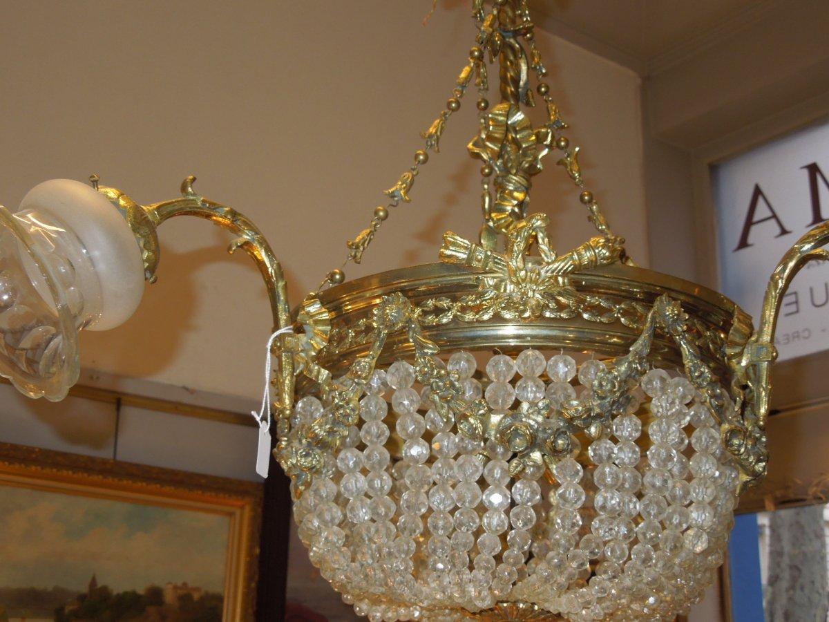 Lustre Montgolfiere Bronze Doré Fin 19eme Siecle