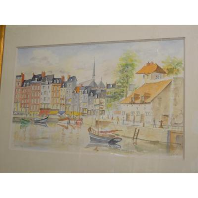 The Port And The Harbor Master's Office Of Honfleur Watercolor Signed Glen