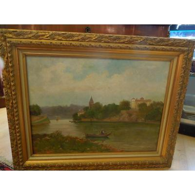 Fisherman In Front Of Ile Barbe In Lyon French School End 19 Eme Signed Fortune Wallon