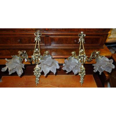 Pair Of Wall Lights End 19 Eme Style Louis 16