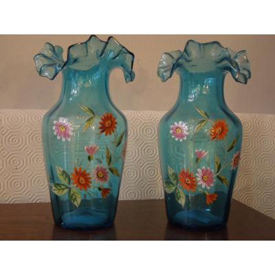 Pair Of 20/30 Enamel Vases