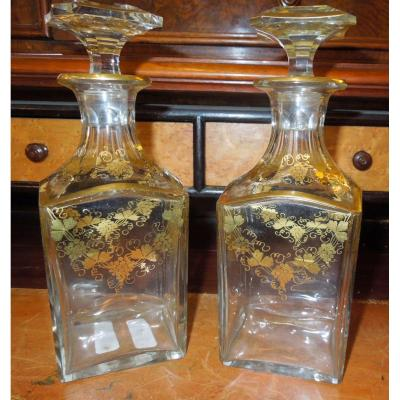 Pair Of Liqueur Carafes 19 Eme