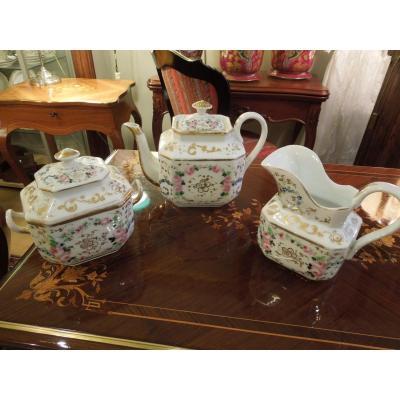 Tea Service 3 Pieces Porelaine De Paris Charles X Period