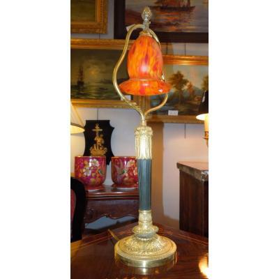 Lampe De Salon Bronze 2 Patines fin 19 eme