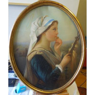 Sainte Marguerite A La Quenouille Pastel French School 19 Eme Siecle