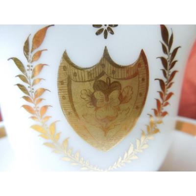 Tasse  a chocolat Et Sous Tasse Porcelaine De Paris Milieu 19 Eme