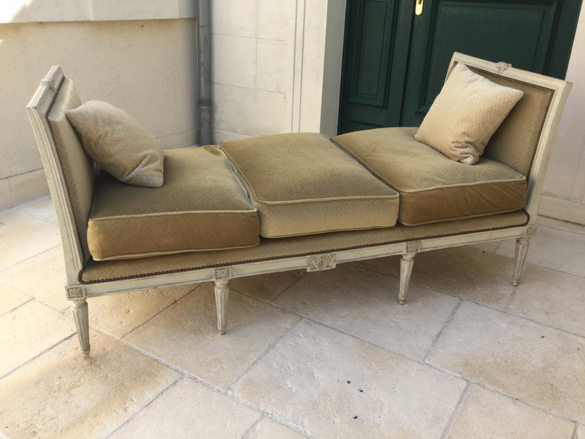 """Bed, Bench """"in Ottoman"""" Louis XVI Period Stamped Bovo"""
